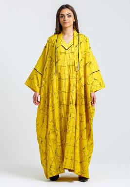 Mustard Printed Dress & Bisht