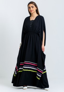 Black Beaded Open Sleeves Kaftan