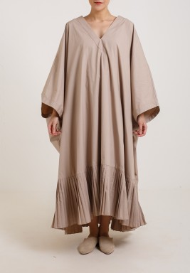 Square Pleats Dress Taupe