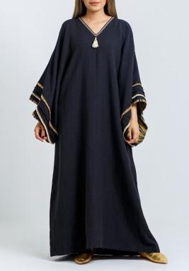 Black Oversized Beaded Sleeves Kaftan