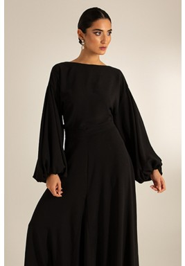 Black Puffed Sleeves Low Back Top