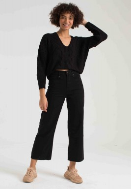 BLACK HIGH RISE WIDE LEG JEANS