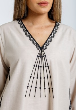 Beige & Black embroidery Kaftan