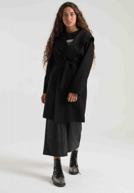BLACK MARLA WOOL COAT