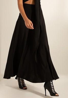 Black Flowy Crepe Maxi Skirt