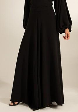 Black Wide-Legged Crepe Maxi Pants