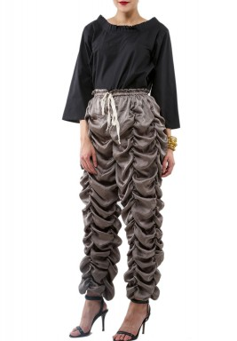 Bronze Ruffled Silk Pants