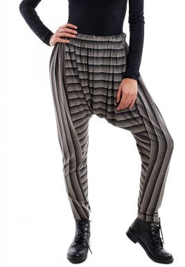 Black & Grey Striped Sherwal Pants
