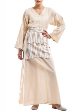 Beige Kaftan With Striped Belt