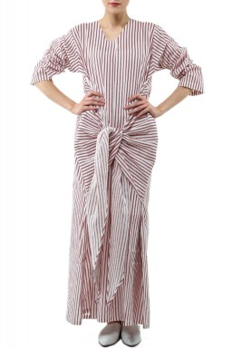 White & Maroon Striped Linen Kaftan