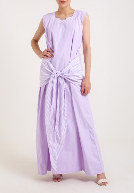 Purple Linen Kaftan With Striped Bisht