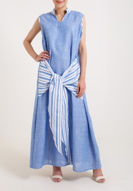 Striped Blue Bisht