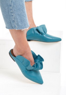 Belda Turquoise Leather Ruffled Mules