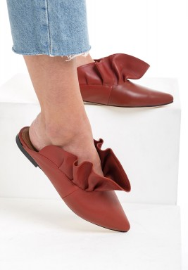 Belda Brown Ruffled Mules