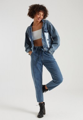 BLUE TWO TONE CROPPED DENIM JACKET