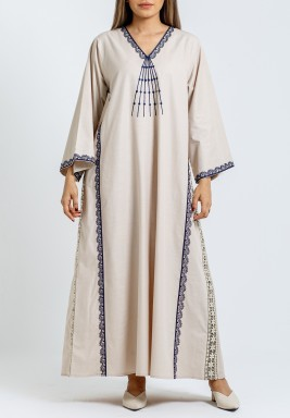 Beige with Navy embroidery Kaftan