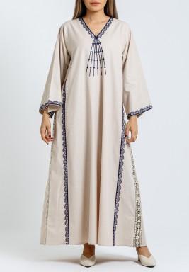 Beige & Navy Embroidery Kaftan