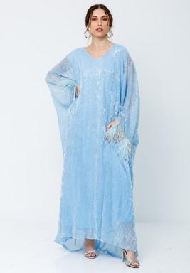 Blue Sparkly Feather Cuffs Kaftan