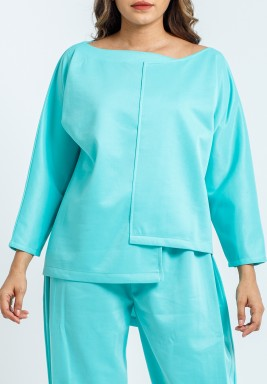 Tiffany Blue Boat Neck Top
