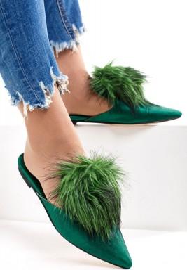 Furry Green Babouche