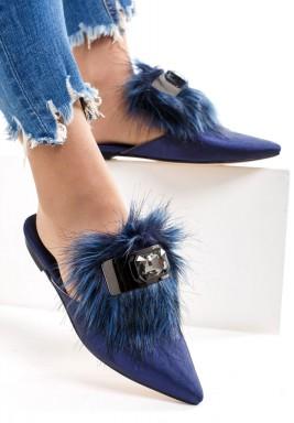 Furry Blue Babouche