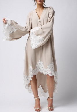 Beige Silky Long Sleeves Nightie