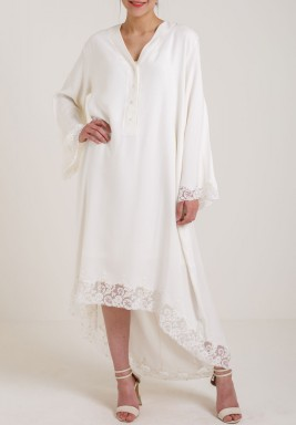 Highlow Dress white