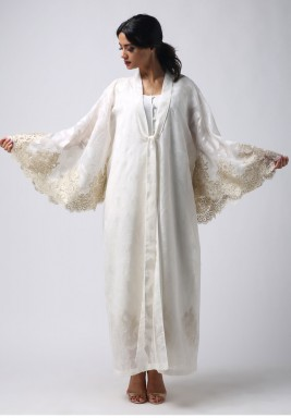 White Embroidered Linen Robe Set