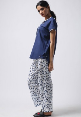 Navy Cotton Printed Pajama