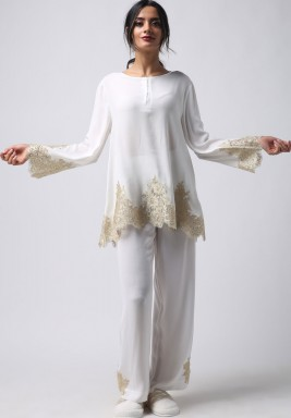 White & Gold Lace Embroidery Pajama