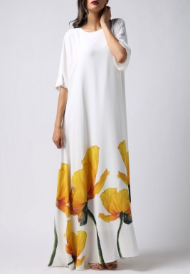 White Tulip Print 3/4th Sleeves Kaftan