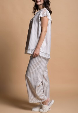 Ecru Striped Pajamas Set