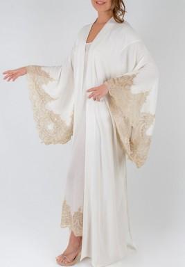 White Kimono Style Golden Lace Robe Set