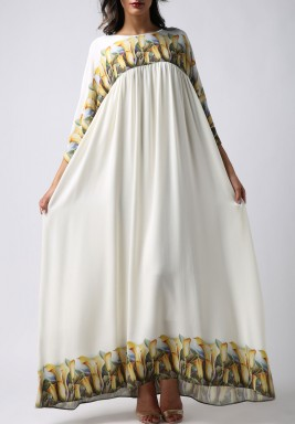 White Flowers Print Maxi Dress
