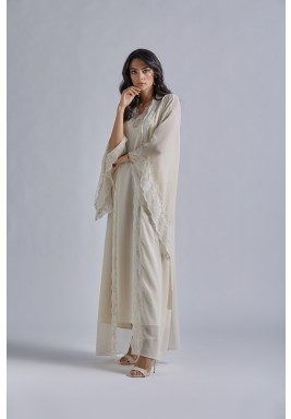 Beige & Gold Silk Maxi Robe Set