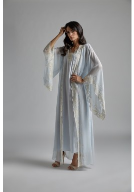 Baby Blue Silk Maxi Robe Set