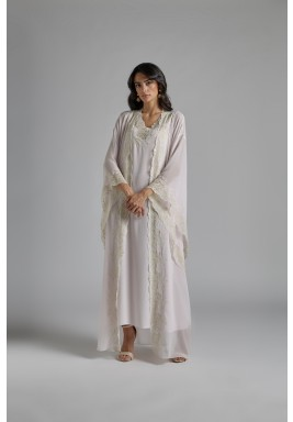 Baby Pink Silk Oversized Sleeves Robe Set