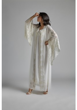 Off-White Silk Lace Sleeves Robe Set