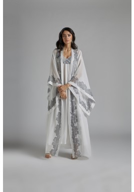 White & Silver Silk Straps Robe Set