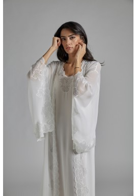 White & Silver Silk Robe Set