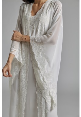 Silk Chiffon Off White Robe Set  Perla 2