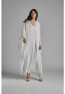 Off-White Silk Oversized Sleeves Robe Set