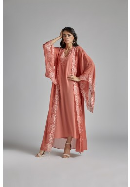 Coral Lace Sleeves Silk Robe Set