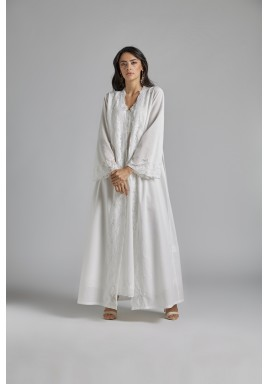 White Cotton Maxi Robe Set