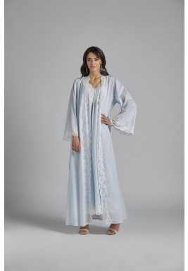 Baby Blue Cotton Maxi Robe Set