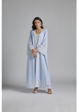 Cotton Buttoned Baby Blue Robe Set  Louise