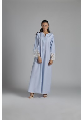 Baby Blue Zip-Front Linen Dress