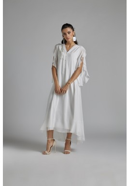 Off-White Silk Chiffon Nightgown