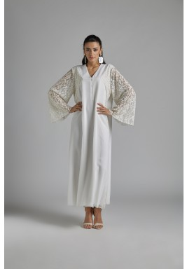 White Lace Sleeves Silk Dress