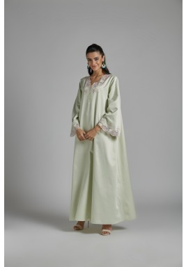 Trimmed Cotton Dress Light Green -Orchide
